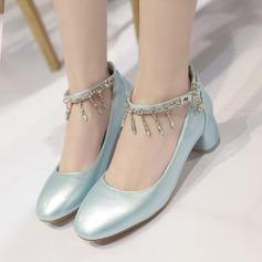 Naisten Keinonahasta Chunky heel Avokkaat Suljettu toe jossa Tekojalokivi Ketju kengät