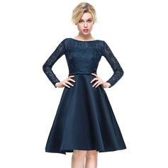 A-Line/Princess Scoop Neck Knee-Length Satin Lace Cocktail Dress With Bow(s) (016081189)
