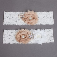 Elegante Pizzo/Chiffona con Strass/Perle d'imitazione matrimonio Giarrettiere
