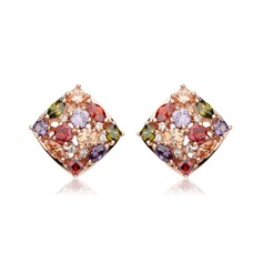 Colourful Copper/Zircon/Rose Gold Plated Ladies' Earrings