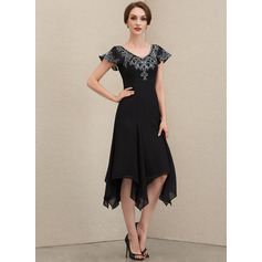 A-Line V-neck Tea-Length Chiffon Lace Cocktail Dress With Sequins (016230362)