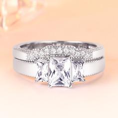 Sterling Silver Cyrkonia Aureola Zabytkowe Krój Bagietki Pierścionek zaręczynowy Zestawy ślubne ()