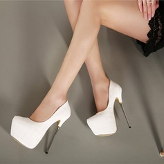 Women's Leatherette Stiletto Heel Pumps Platform Closed Toe shoes