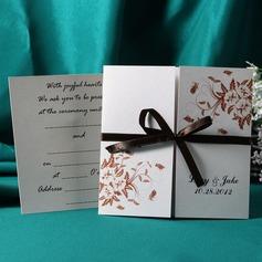 Персонализированные цветочный Стиль Gate-Fold Invitation Cards с Ленты
