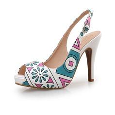 Vrouwen Kunstleer Stiletto Heel Pumps Peep Toe schoenen
