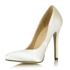 Satin Stiletto Heel Pumps Closed Toe shoes