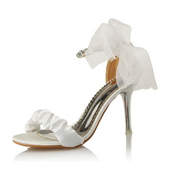 Kvinder Ruskind Stiletto Hæl sandaler med Bowknot sko