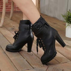 Women's PU Chunky Heel Boots Mid-Calf Boots With Buckle Lace-up shoes