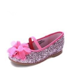 Girl's Sparkling Glitter Flat Heel Round Toe Flats With Sparkling Glitter Flower