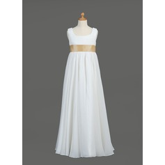 Empire Floor-length Flower Girl Dress - Chiffon/Taffeta Sleeveless Scoop Neck With Sash
