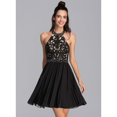 A-Line Halter Short/Mini Chiffon Homecoming Dress With Beading Sequins Pleated (022206515)