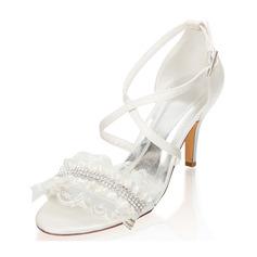 Kvinder silke lignende satin Stiletto Hæl Kigge Tå sandaler med Spænde Rhinsten Blomst