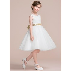 Forme Princesse Longueur genou Robes à Fleurs pour Filles - Tulle/Dentelle Sans manches Col rond avec À ruban(s)/V retour