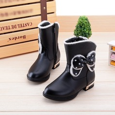 Girl's Round Toe Mid-Calf Boots Leatherette Flat Heel Flats Boots With Bowknot Zipper