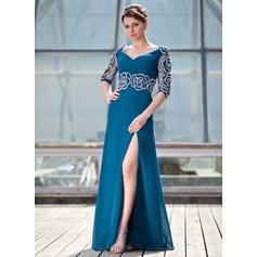 A-Linie/Princess-Linie V-Ausschnitt Bodenlang Chiffon Kleid für die Brautmutter mit Rüschen Perlen verziert Blumen Schlitz Vorn