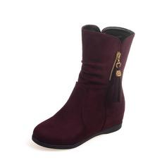 Mulheres Camurça Sem salto Botas na panturrilha sapatos