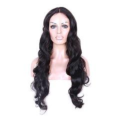 4A Ej remy Vågig Mänskligt hår Full Lace Parykar