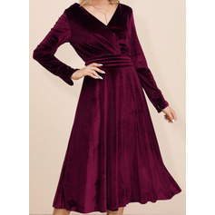 Solid A-line Long Sleeves Midi Casual Dresses (294252081)