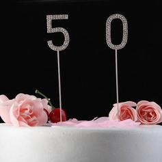 Brilhante Pedrinhas Número Cromado Aniversário Decorações de bolos