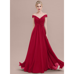 A-Line/Princess Off-the-Shoulder Floor-Length Chiffon Lace Evening Dress With Ruffle (017124652)