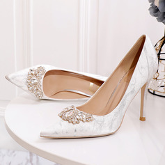 Women's Silk Like Satin Stiletto Heel Closed Toe Pumps With Crystal (047219335)