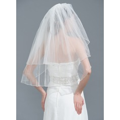 Twee-rij Gerolde Rand Vingertop Bruids Sluiers met Steentjes
