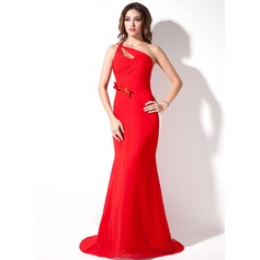 Trumpet/Mermaid One-Shoulder Sweep Train Chiffon Prom Dress With Ruffle Bow(s)