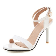 Vrouwen Patent Leather PU Stiletto Heel Sandalen Pumps Peep Toe Slingbacks met Gesp schoenen