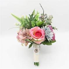 Mid Hand Gebunden Satin/Kunststoff Brautsträuße/Brautjungfer Blumensträuße -