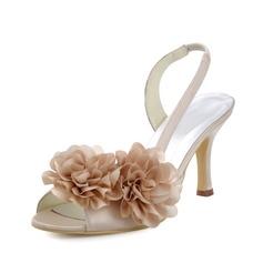 Women's Silk Like Satin Spool Heel Peep Toe Sandals With Flower
