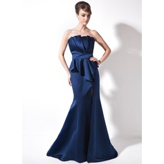 Trumpet/Mermaid Scalloped Neck Court Train Satin Evening Dress With Ruffle Split Front