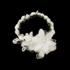 Enfants Charmant Satiné/Papier Fleurs et plumes/Bandeaux avec Pearl
