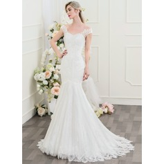 Trompete/Meerjungfrau-Linie Off-the-Schulter Sweep/Pinsel zug Lace Brautkleid