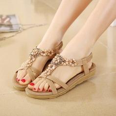 Women's Leatherette Flat Heel Sandals Flats Peep Toe With Rhinestone Elastic Band shoes