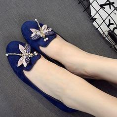 Vrouwen Suede Flat Heel Flats Pumps met Strass schoenen (086111290)