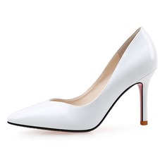 Women's Patent Leather Stiletto Heel Pumps Closed Toe shoes (085090439)
