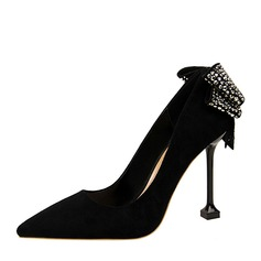 Women's Spool Heel Pumps Closed Toe With Bowknot shoes