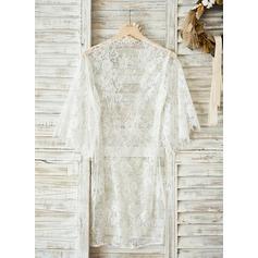 Braut Lace mit Knielang Roben aus Satin und Spitze