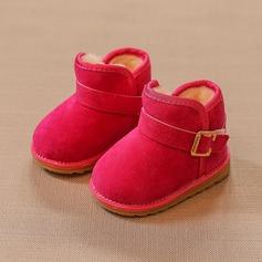 Unisexe Bout fermé Bottes neige Suède talon plat Chaussures plates Bottes avec Boucle