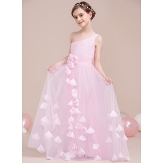 A-Line/Princess One-Shoulder Floor-Length Tulle Junior Bridesmaid Dress With Ruffle Flower(s) (009106844)