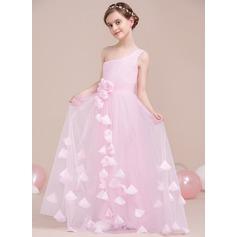 A-Linie/Princess-Linie Eine Schulter Bodenlang Tüll Kleid für junge Brautjungfern mit Rüschen Blumen (009106844)