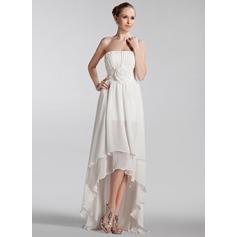 Трапеция/Принцесса Без лямок Асимметричный шифон Свадебные Платье с Рябь Цветы