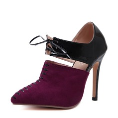 Mulheres Camurça PU Salto agulha Bombas Fechados com Aplicação de renda sapatos