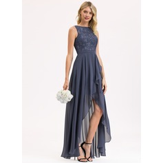 A-Line Scoop Neck Asymmetrical Chiffon Lace Bridesmaid Dress With Sequins Cascading Ruffles