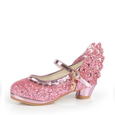 Girl's Sparkling Glitter Low Heel Closed Toe Sandals With Sparkling Glitter