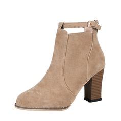 Donna Camoscio Tacco spesso Stiletto Stivali Stivali alla caviglia con Fibbia Cerniera scarpe