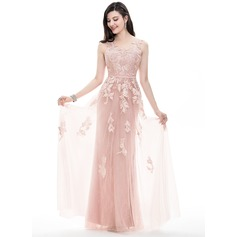 A-Line/Princess Scoop Neck Floor-Length Tulle Prom Dresses (018105696)