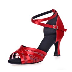 Women's Satin Heels Sandals Latin With Ankle Strap Dance Shoes (053075309)