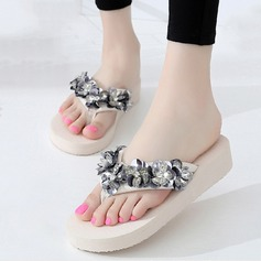 Women's Cloth Flat Heel Flip-Flops Platform Beach Wedding Shoes With Sequin Flower