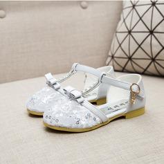 Fille de similicuir talon plat Bout fermé Chaussures plates avec Bowknot Strass Velcro